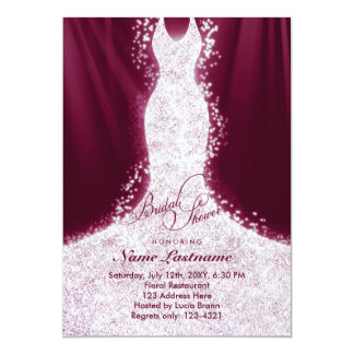 Faux Glitter Dress Burgundy Bridal Shower Invite