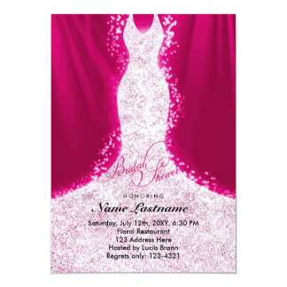 Faux Glitter Dress on Pink Bridal Shower Invite