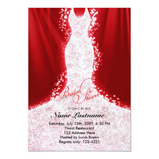 Faux Glitter Dress on Red Bridal Shower Invite