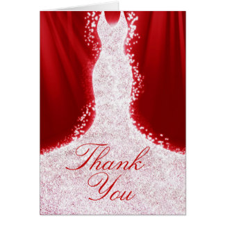 Faux Glitter Dress on Red Thank You Note Card