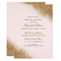 FAUX Glitter Dust Blush & Gold Bridal Shower Card