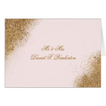FAUX Glitter Dust Blush & gold Place Cards