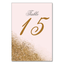 FAUX Glitter Dust Blush & gold table number