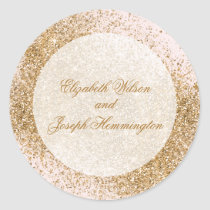 FAUX Glitter Dust Blush & gold Wedding Classic Round Sticker