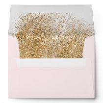 FAUX Glitter Dust Blush & gold Wedding Envelope