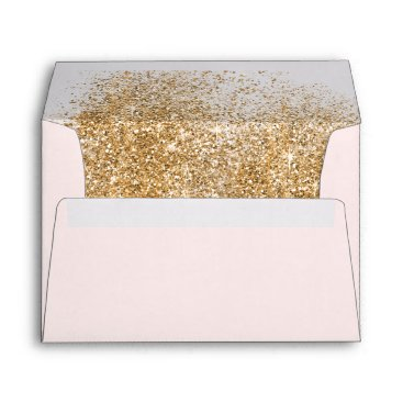 FAUX Glitter Dust Blush & gold Wedding Envelope