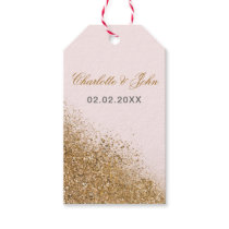 FAUX Glitter Dust Blush & gold wedding Gift Tags