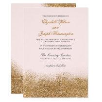 FAUX Glitter Dust Blush & gold Wedding Invitations