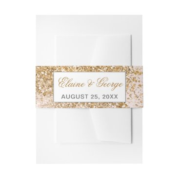 FAUX Glitter Dust Blush & gold Wedding Invitations Invitation Belly Band