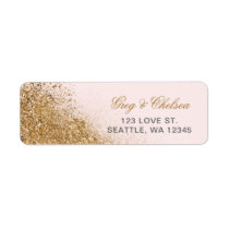 FAUX Glitter Dust Blush & gold Wedding Label