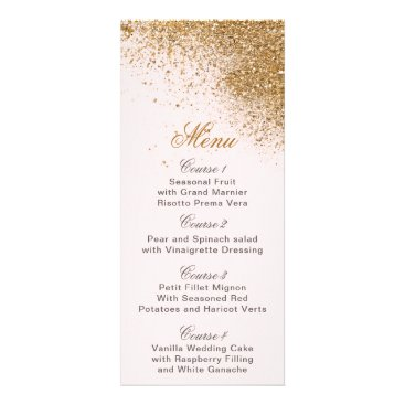 FAUX Glitter Dust Blush & gold Wedding menu