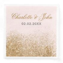 FAUX Glitter Dust Blush & gold Wedding Paper Dinner Napkin