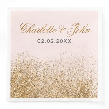 FAUX Glitter Dust Blush & gold Wedding Paper Dinner Napkin
