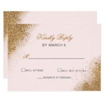 FAUX Glitter Dust Blush & gold Wedding rsvp Card