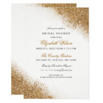 FAUX Glitter Dust White & Gold Bridal Shower Card