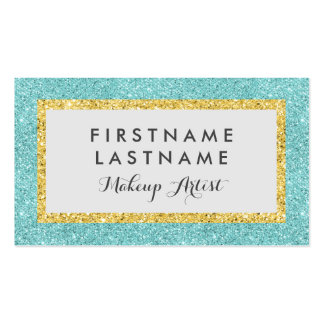 Faux Glitter Elegant Blue & Gold Business Card