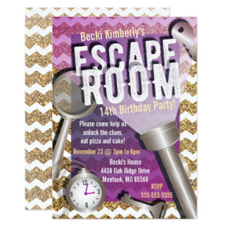 Faux Glitter Escape Room Party Invitations