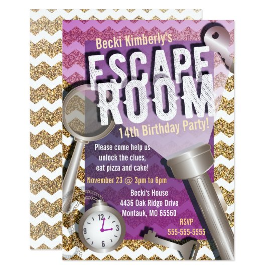 Faux glitter escape room party invitations for Escape room party
