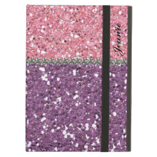 Faux Glitter Gems  Pink Purple Girl Personalized Case For iPad Air