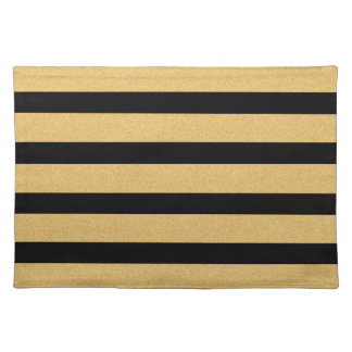 Faux Glitter Gold and Black Striped Cloth Placemat