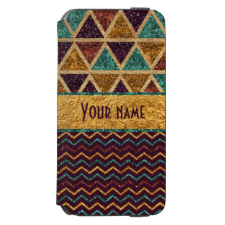 Faux Glitter Gold Foil Retro Triangles Chevrons iPhone 6/6s Wallet Case