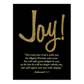Faux Glitter Gold Joy with Christian Scripture Postcard