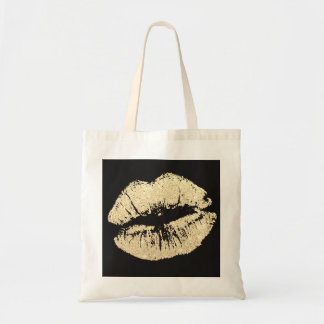 Faux Glitter Gold Lips Budget Tote Shopping Bag
