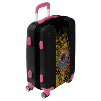 Faux Glitter Gold Peacock Feathers Luggage
