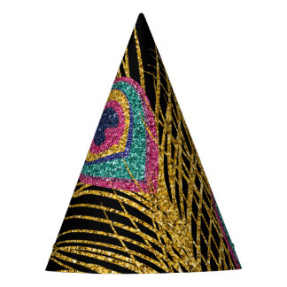 Faux Glitter Gold Peacock Feathers Party Hat