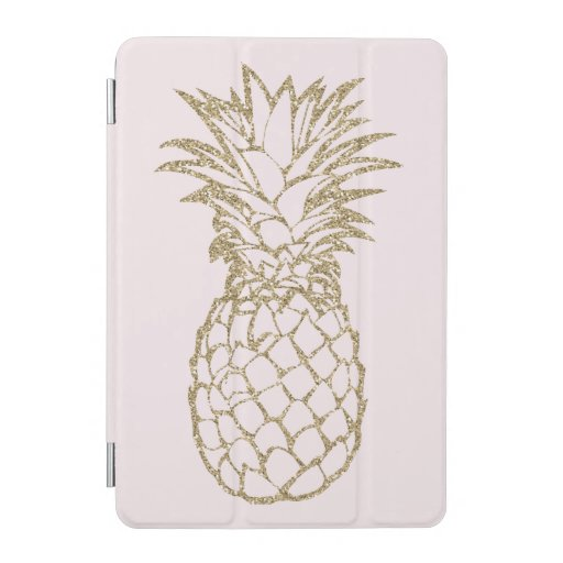 Faux Glitter Gold Pineapple Pink iPad Smart Cover