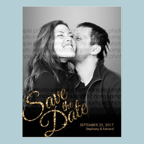 Faux Glitter Gold Save the Date Photo Postcard
