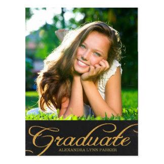 Faux Glitter Graduation Invite Postcard / Black