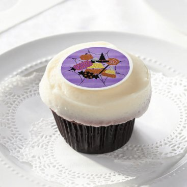Halloween Themed Faux Glitter Halloween Candy Spider Web Collage Edible Frosting Rounds