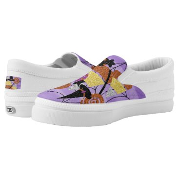 Halloween Themed Faux Glitter Halloween Candy Spider Web Collage Slip-On Sneakers