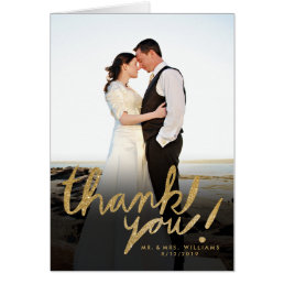 Faux Glitter Handwrite Photo Thank You Card