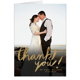 Faux Glitter Handwrite Photo Thank You Card