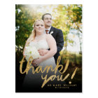 Faux Glitter Handwrite Photo Thank You Postcard