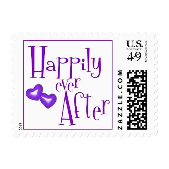 Faux Glitter Happily Ever After Purple Hearts Postage