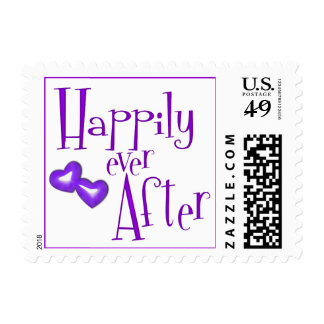 Faux Glitter Happily Ever After Purple Hearts Stamp