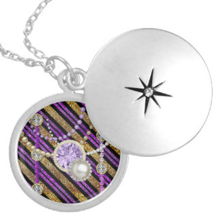 Faux Glitter & Jewels Purple & Gold Tones Silver Round Locket Necklace