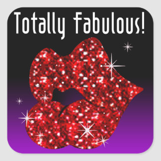 (faux) Glitter Lips Totally Fabulous red Square Sticker