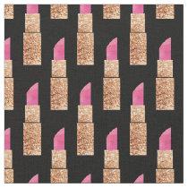 Faux Glitter Lipstick Makeup Beauty Pattern Black Fabric