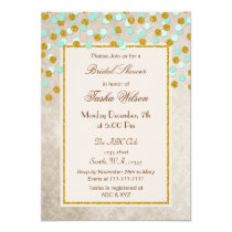 FAUX Glitter Mint Gold confetti Bridal Shower Card