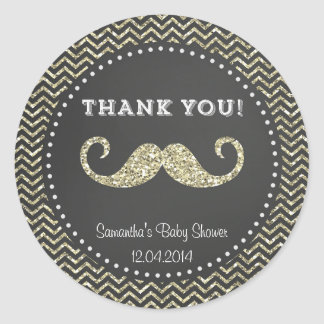 Faux Glitter Mustache Baby Shower Sticker