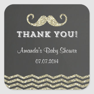 Faux Glitter Mustache Thank You Stickers