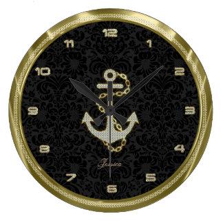 Faux Glitter Nautical Anchor Black Background 2 Clocks