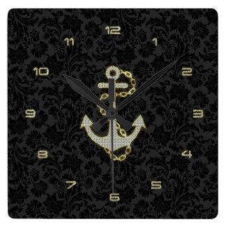 Faux Glitter Nautical Anchor Black Background Square Wallclock