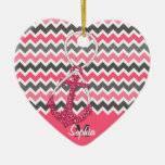 faux glitter nautical anchor infinity symbol Double-Sided heart ceramic christmas ornament