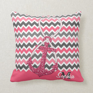 faux glitter nautical anchor infinity symbol throw pillows