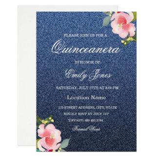 Faux Glitter Navy Blue Quinceanera Invitation